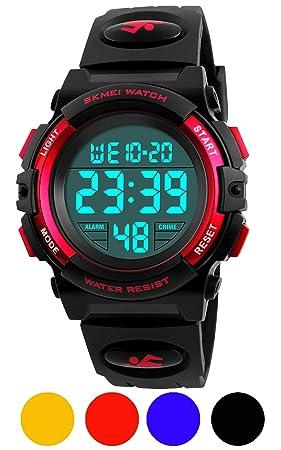 ATNKE Relojes Digitales para niños, Reloj Deportivo de Cuarzo Infantil con cronómetro y Alarma LED Impermeable de 50 m para niños y niñas/Rojo: Amazon.es: ...