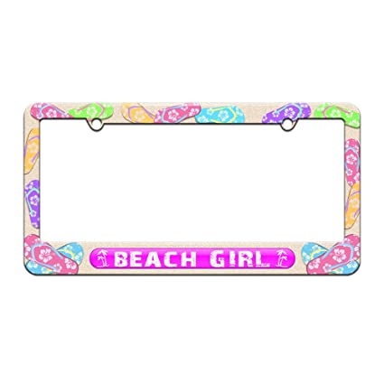 Amazon.com: Beach Girl Pink - Island Palm Trees - License Plate Tag ...