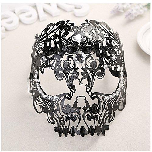 [WCHUANG New Unisex All Metal Skull Mask Laser Cut Venetian Halloween Masquerade Mask Black] (Diy Half Man Half Woman Costume)