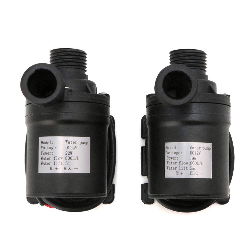 menitn 800L//H 5/M DC 12/V 24/V bomba de agua solar de circulaci/ón de agua de motor sin cepillo negro