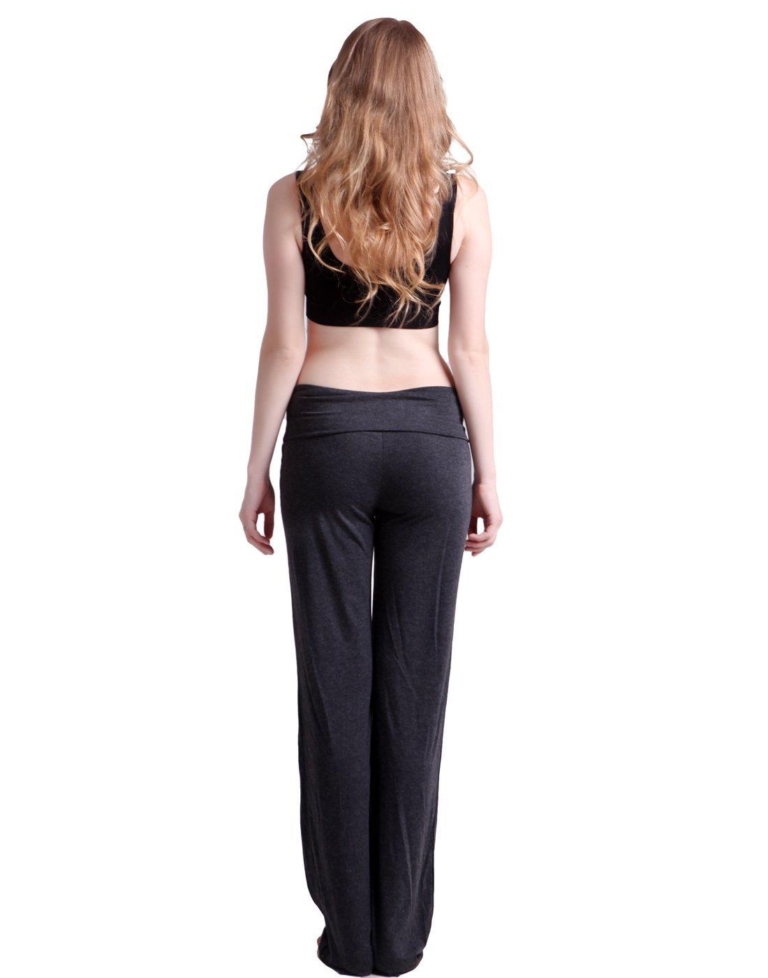 6224f08674 HDE Womens Color Block Fold Over Waist Yoga Pants Flare Leg Workout Leggings