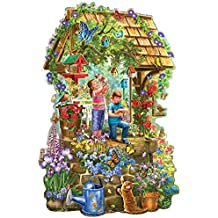 Bits and Pieces - 300 Piece Shaped Jigsaw Puzzle for Adults - Wishing Well Garden - 300 pc Flowers and Butterflies Jigsaw by Artist Liz Goodrick-Dillon