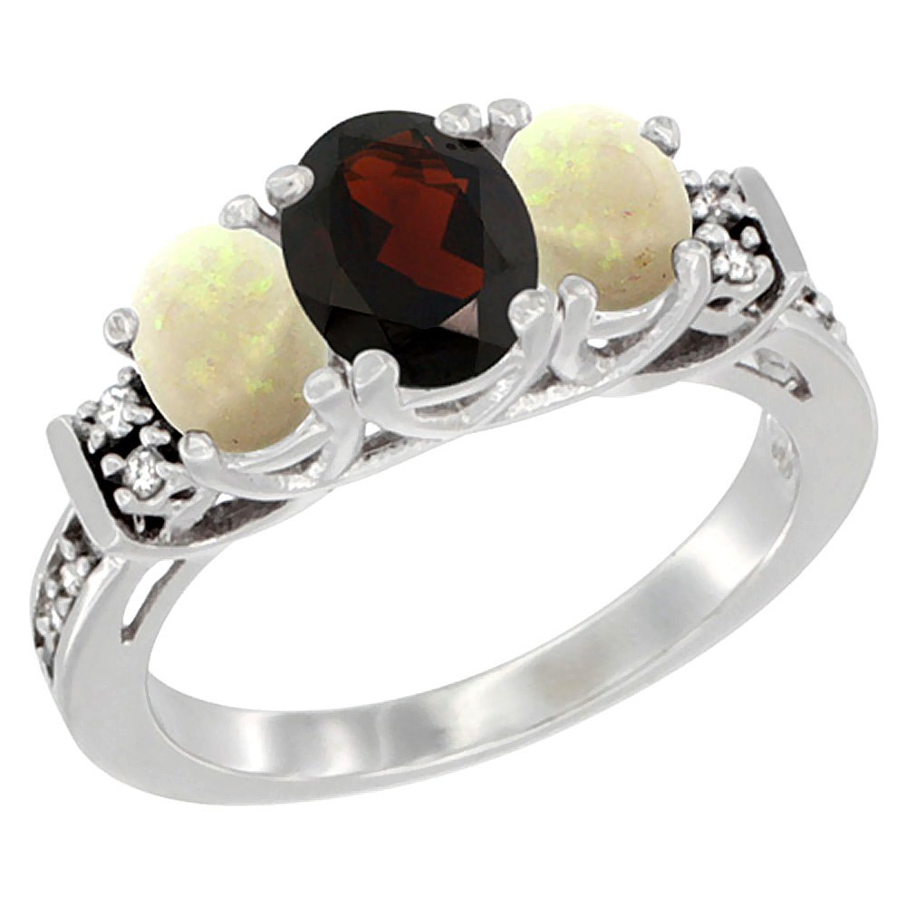 14K White Gold Natural Garnet & Opal Ring 3-Stone Oval Diamond Accent, size 6.5