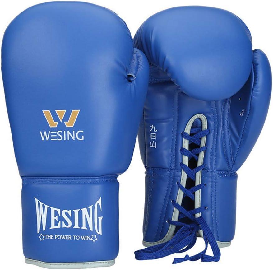 ボクシンググローブ8オンス10オンス12オンスムエタイトレーニングマヤ隠すレザースパーリングパンチングバッグミットキックボクシングの戦い,青,10oz 青 10oz