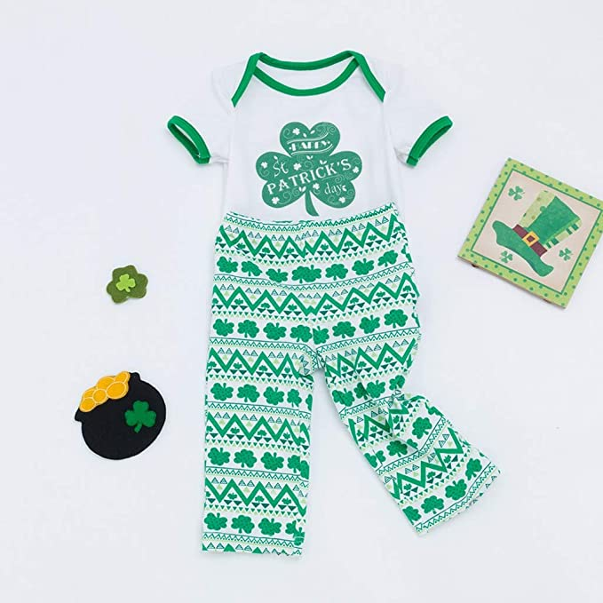 KONFA Patricks Day Toddler Kids Newborn Boys Girls 2Pcs Outfits Clothes,Stripes Leaves Print Romper+Pants Set