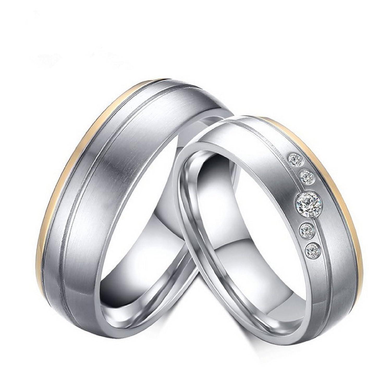 AIOPAKE His or Hers Matching Set, Custom Engraved Titanium Steel Couple Wedding Band Ring Engagement Ring (Free Engraving)