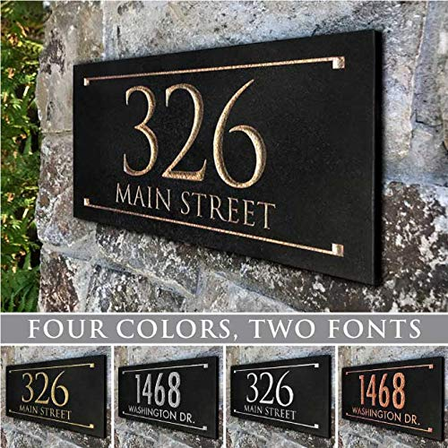 Stone Address Plaque with Engraved Numbers. Address Sign Made from Solid, Real Stone -