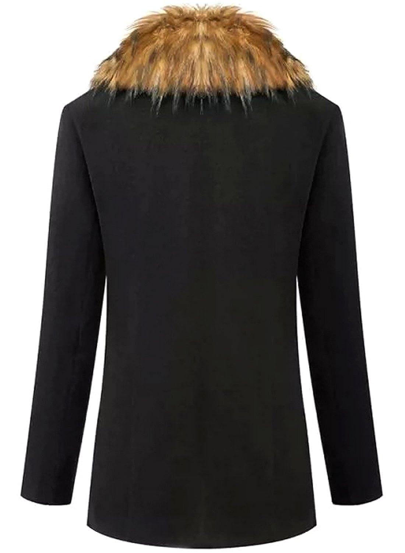 Amazon.com: Azbro Women's Black Removable Faux Fur Collar Long ...