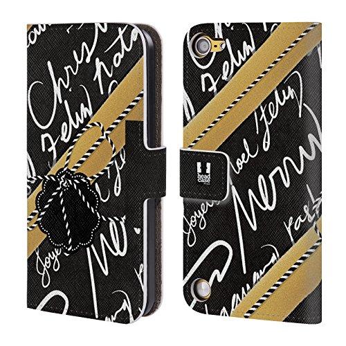 Head Case Designs Nero E Oro Regali Di Natale Cover a portafoglio in pelle per iPod Touch 5th Gen / 6th Gen