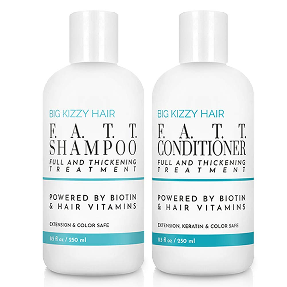 Big Kizzy F.A.T.T. Volumizing & Thickening Biotin Shampoo & Conditioner Set, Gentle Hair Care Hair Safe for Extensions Color Keratin Treatments, Strengthens & Nourishes Fragile Hair by Big Kizzy