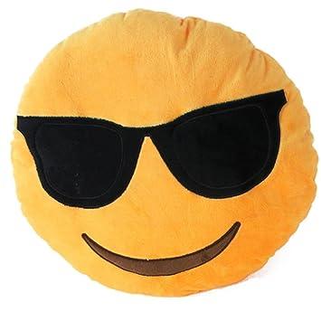 Emoji Emoticon almohada Riendo cojín almohada Presidente Cojín Cojín redondo (Sonnenbrille)