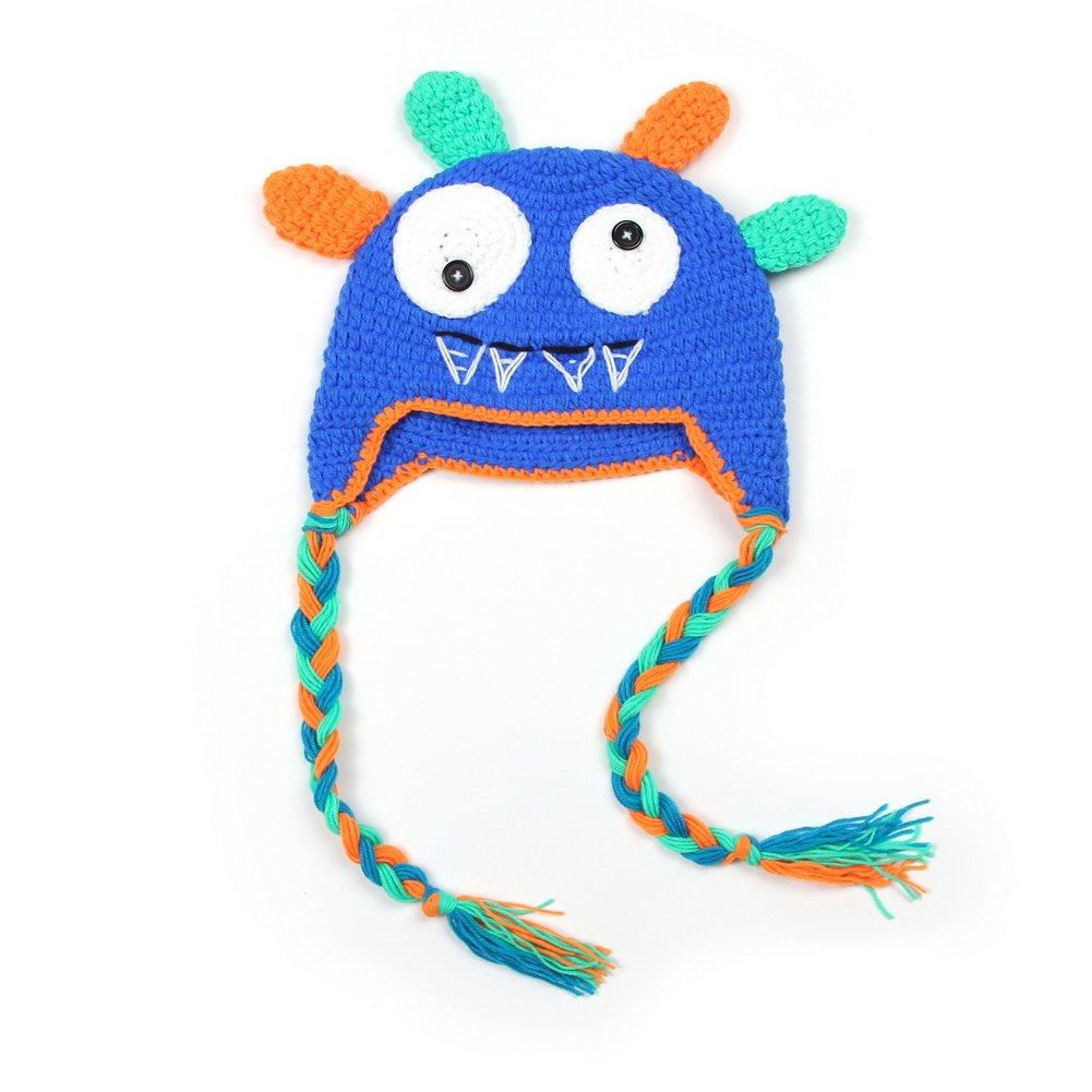 Vogholic Kids Little boys Girls Knit Crochet Lifelike Antlers Hats Stretchy Beanie 20161229A068