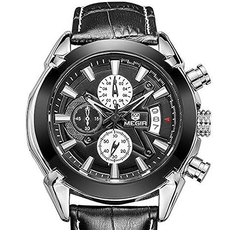 Amazon.com: Relojes de Hombre Mens Quartz Watches Genuine Leather Calendar Waterproof Male Watch RE0045: Watches