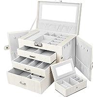 Yorbay Seelux szkatułka na biżuterię, zamykana z lustrem, 3 szuflady i wyjmowanym minipudełkiem, skrzynka na biżuterię z…