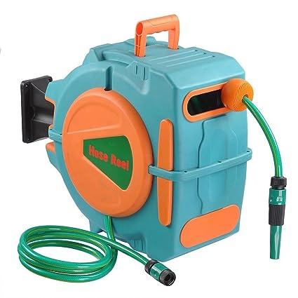 ampersand shops garden essentials 65 ft retractable water hose reel automatic rewind wall mount - Wall Mount Garden Hose Reel