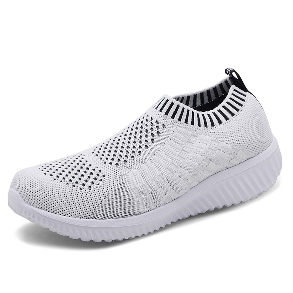 KONHILL Women's Lightweight Casual Walking Athletic Shoes Breathable Mesh Running Slip-on Sneakers B07DLQT6GV 9.5 B(M) US|6701 White