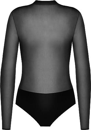Ladies Womens Fishnet Mesh Bardot Off Shoulder Leotard Long Sleeve Bodysuit Top