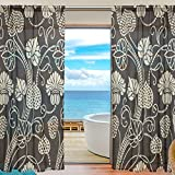 SAVSV Window Sheer Curtains Panels Voile Drapes Morden Dark Color Retro Floral Design 55'' W x 78'' L 2 Panels Great For Living Room Bedroom Girl's Room