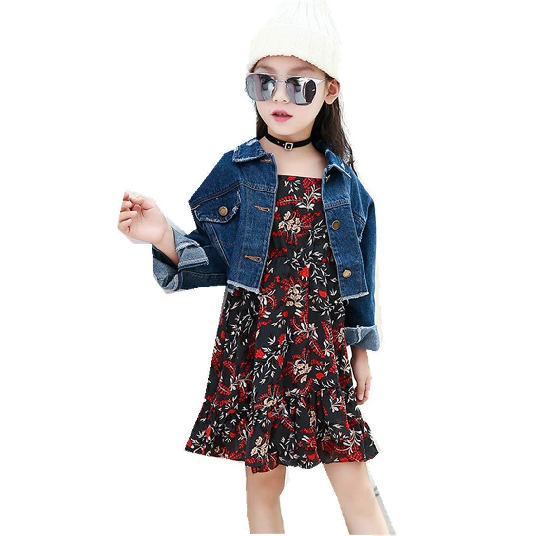 MV Autumn Retro Children Casual Personality Denim Jacket Sling Floral Dress Suit