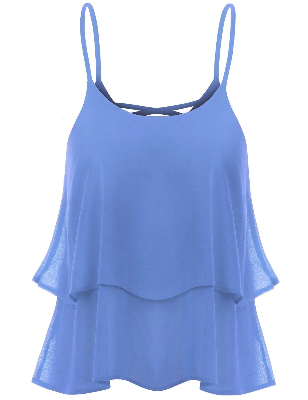 TWINTH Sleeveless Strap Shirring Chiffon Cropped Tank Top Cami Blouse Blue S