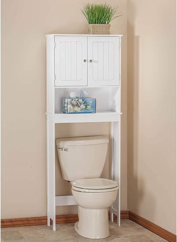 White Bathroom Linen Storage Cabinet Wall-Mount Slim Sleek Design ...