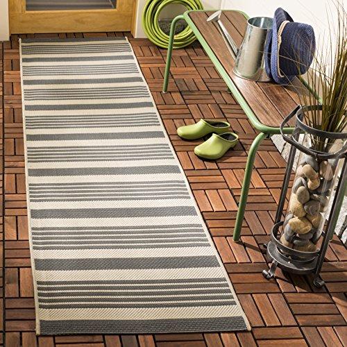 Safavieh Courtyard Collection CY6062-236 Grey and Bone Indoor/ Outdoor Runner (2'3