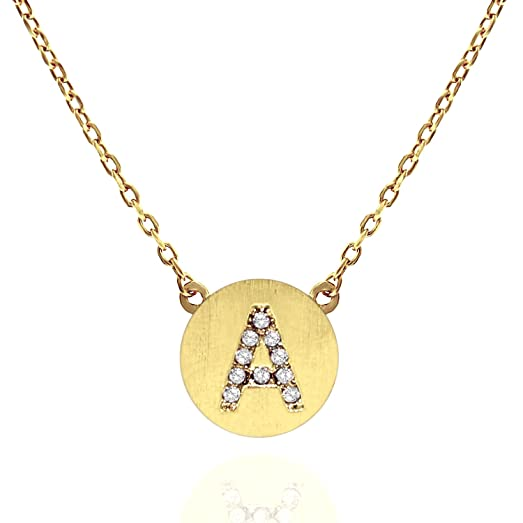 Amazon pavoi 14k gold plated cz simulated diamond alphabet disc pavoi 14k gold plated cz simulated diamond alphabet disc initial pendant necklace 16 18quot aloadofball Image collections