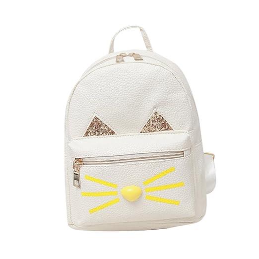 719d881c0072 Backpack, MagicQueen Girls Leather Schoolbag Travel Lovely Cat Backpacks  20x25x10cm