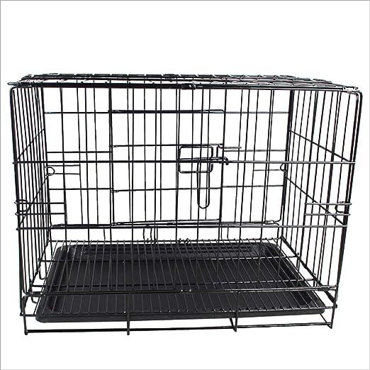 LIULINCUN Jaula para Perros | Doble Puerta Plegable Metal cajón de ...