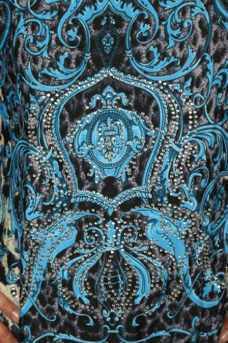 (4035-2) Animal Print Túnica en azul con el Rhinestone brillante Cresta (tamaño 36-44)