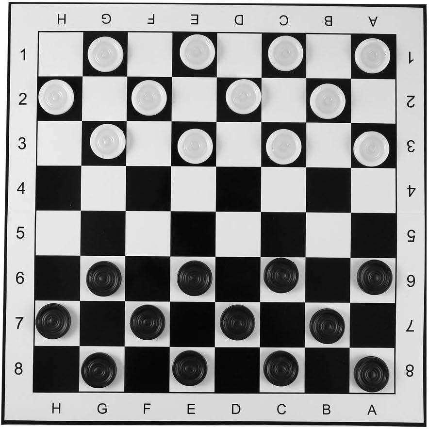 Juego de ajedrez / Damas de plástico de Gran tamaño Tablero de ajedrez Plegable Juego de ajedrez Internacional Juguete de Competencia de Juego de Mesa de Viaje - Negro-Blanco: Amazon.es: Juguetes y