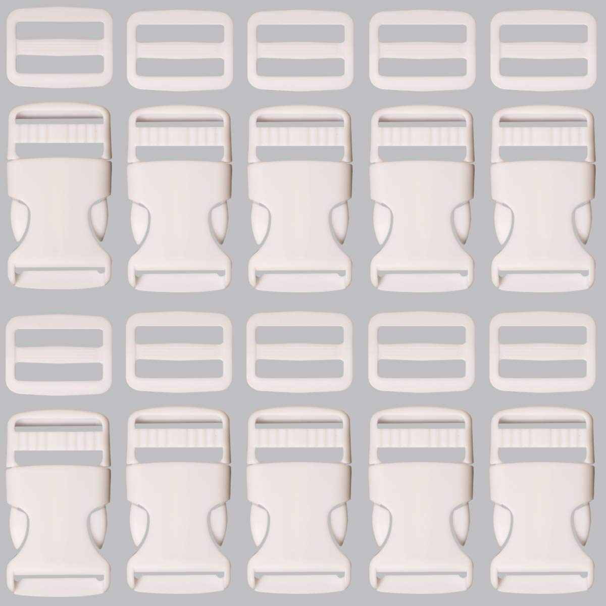 Webbing Strap and Backpack Repair 10 Sets White Plastic Buckle 1 Inch Single Adjust Side Quick Release Replacement Clips with Slides for Dog Collars