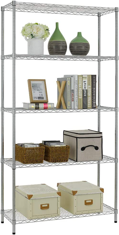 Bigacc 5 Tier NSF Wire Shelving Unit Wire Shelves Wire Shelf 36 W x 14 D x 72 H Heavy Duty Adjustable Storage Wire Shelving Rack Shelving with Feet Levelers for Kitchen Office Bedroom
