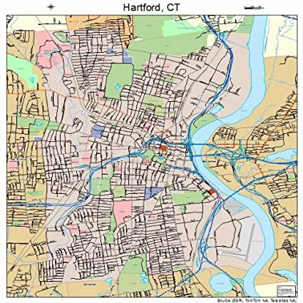 Map Of Hartford Ct Amazon.com: Large Street & Road Map of Hartford, Connecticut CT