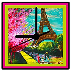 Eiffel Tower, Retro Paris Clock, Designed from Vintage Barkcloth Fabric, 2 Sizes, Desk Clock, Wall Clock, Artist Designed, Includes Stand, Ships Free