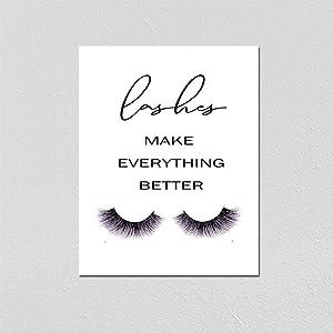 Eyelashes Decor girls room decor Lashes Make Everything Better, Glamour Decor, Bedroom Wall Decor, Inspirational Print, Makeup Lashes Art 8X10 Inch Prints No Framed