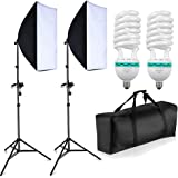 "BPS 1250W Softbox Lighting Kit 50x70cm/20""x28"" Studio Photography Continuous Lighting Set - 50cm x 70cm Softboxes + Fully Adjustable Aluminum alloy Light Stand + 125W Photo Studio Light Bulbs + Heavy Duty Portable Carry Bag"