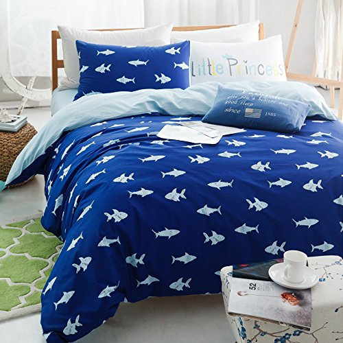 Brandream-Blue-Fish-Ocean-Bedding-Set-Kids-Bedding-Set-Duvet-Cover-Queen-Full-Size