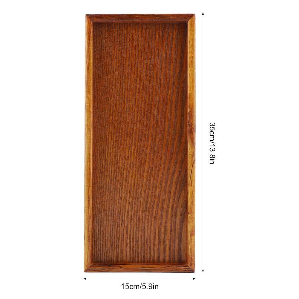 bandeja para servir alimentos casa 35 * 15cm Recipiente de madera resistente plato para servir t/é vajilla rectangular plato bandeja para comida para restaurantes