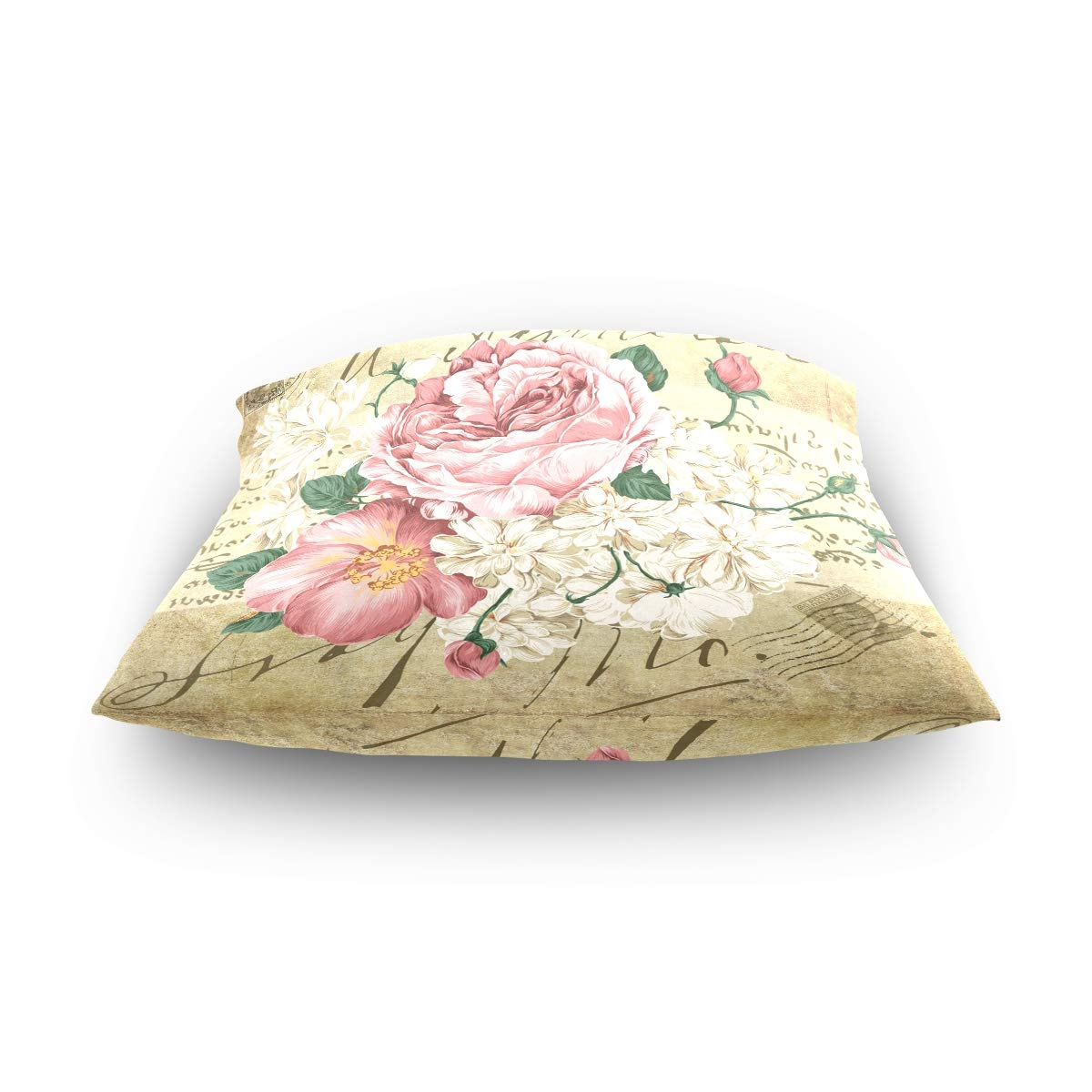ZOEO Square Decorative Throw Pillow Case Cushion Cover,Vintage Shabby Chic Pink Rose Floral,Soft Pillowcase 20x20 inch 20 x 20