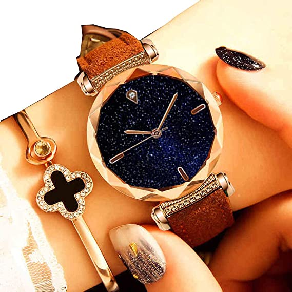 Yunanwa Relojes Mujer Women Watches Rose Gold Romantic Starry Sky Dress Wrist Watch Crystal Rhinestone Ladies Clock Montre Femme Leather Brand with Gift Box