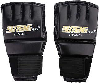 Dewin Gants de Boxe - Adultes Gym Gants, pour l'entraînement de Muay Thai, Sac de Boxe Half Mitts Sparring Boxing pour l'entraînement de Muay Thai Sac de Boxe Half Mitts Sparring Boxing (Color : Black+Golden)