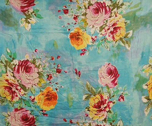 """44"""" Wide Blue Fabric Pure Cotton Floral Printed Sewing Fabric By 1 Yard"""