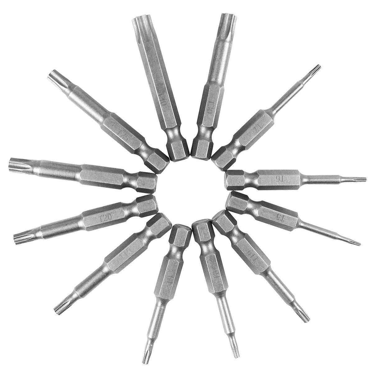 12St/ück Torx Bits Schraubendreher Set,50mm T6-T40 S2 Stahl Magnetische Stern Torx Sicherheit Kopf Schraubendreher Bits Set Luft Bit Werkzeuge mit Loch 1//4schaft