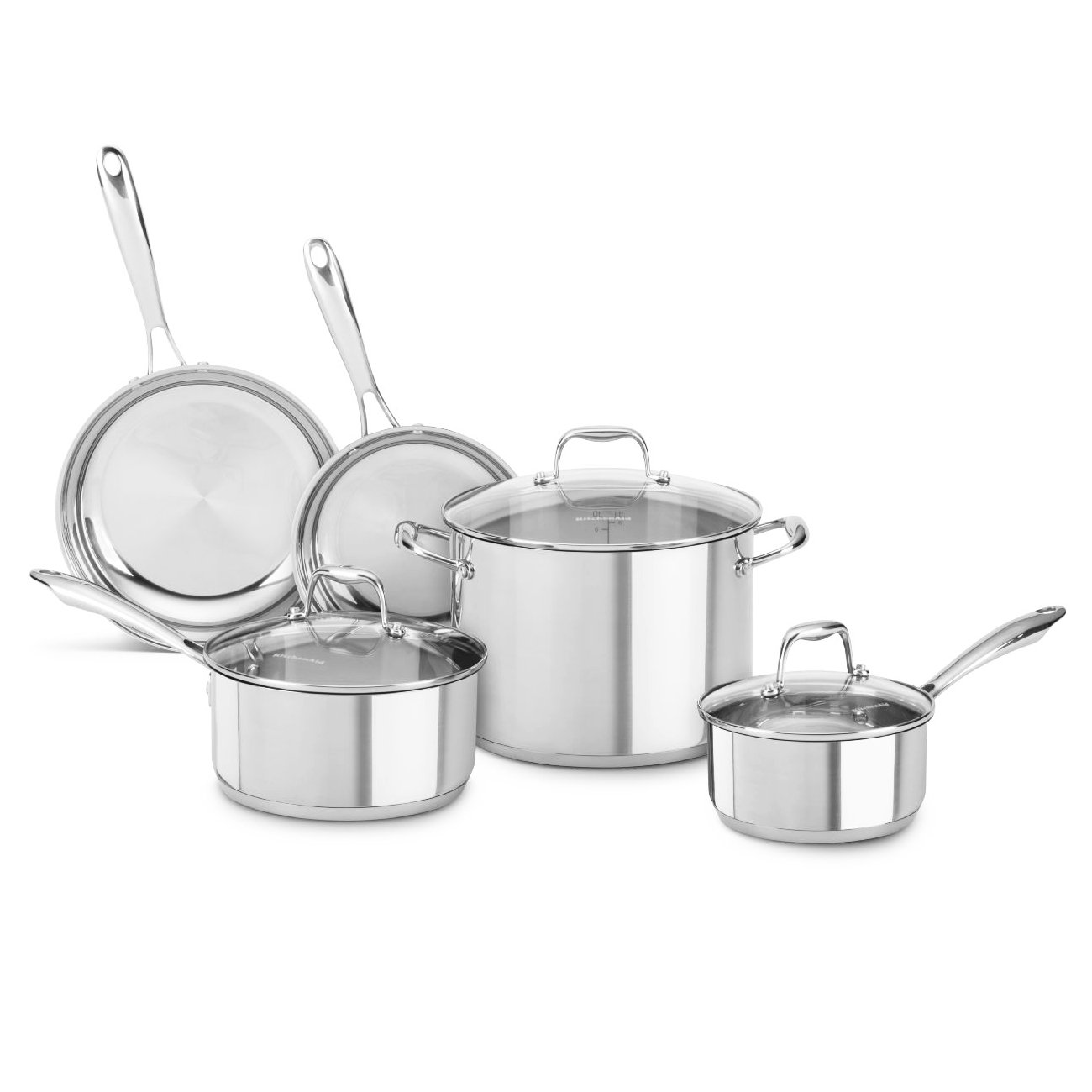Amazon.com: KitchenAid KCSS08LS Stainless Steel 8-Piece Cookware ...
