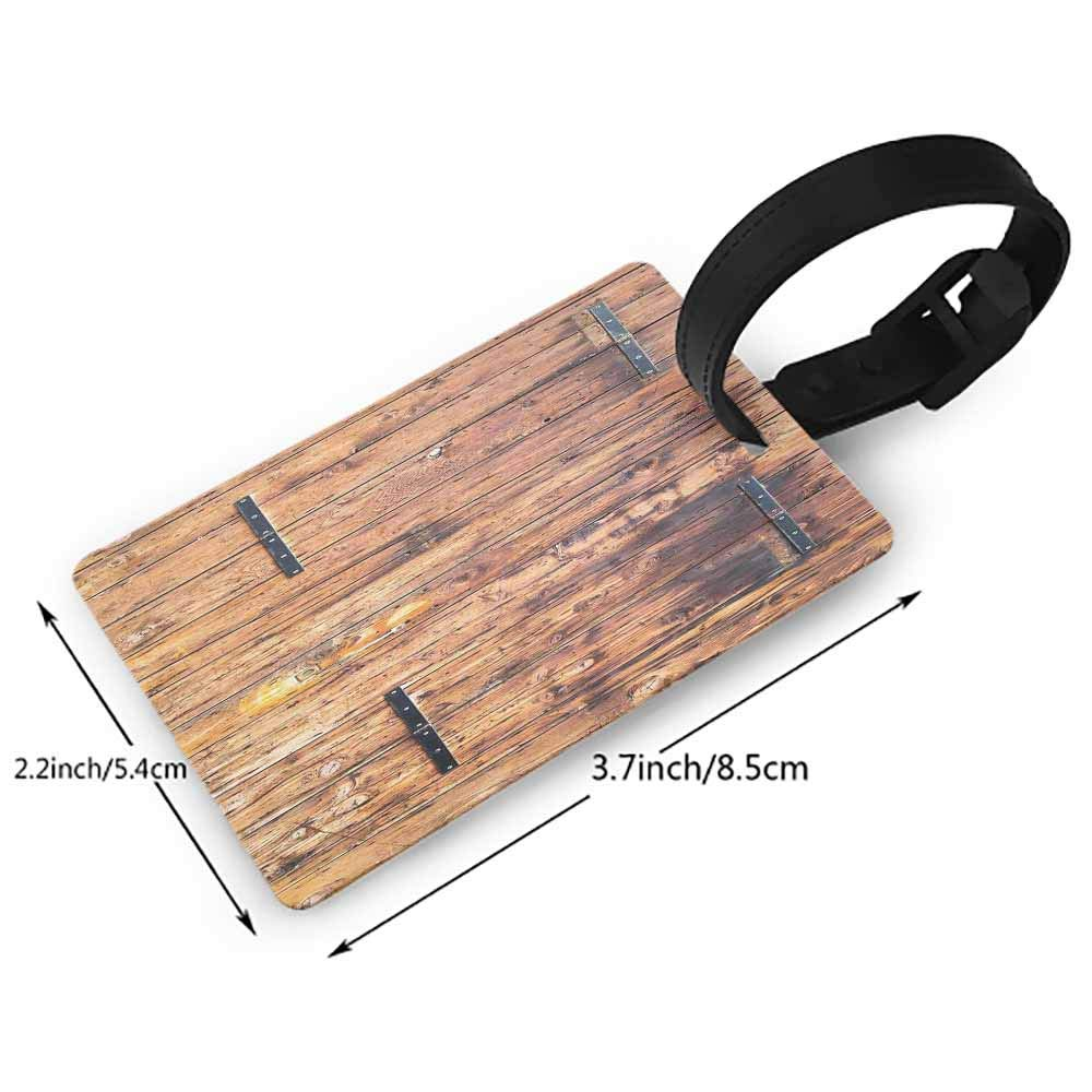 Leather luggage tag,Rustic American USA Flag,July Independence Day Commonwealth Country Emblem Patriotism Wooden Plank Looking,Womens The Getaway Luggage Tag