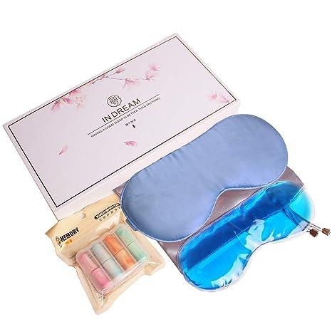 MQFORU - Máscara de dormir de seda natural ajustable suave para dormir con tapones para los
