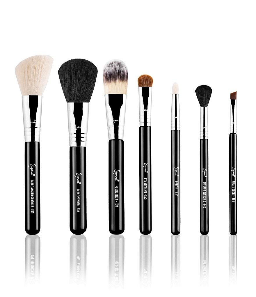 Sigma Beauty |Travel Brush Kit - Make Me Classy | 7 Piece Makeup Brush Set | Faux Leather Brush Cup Included
