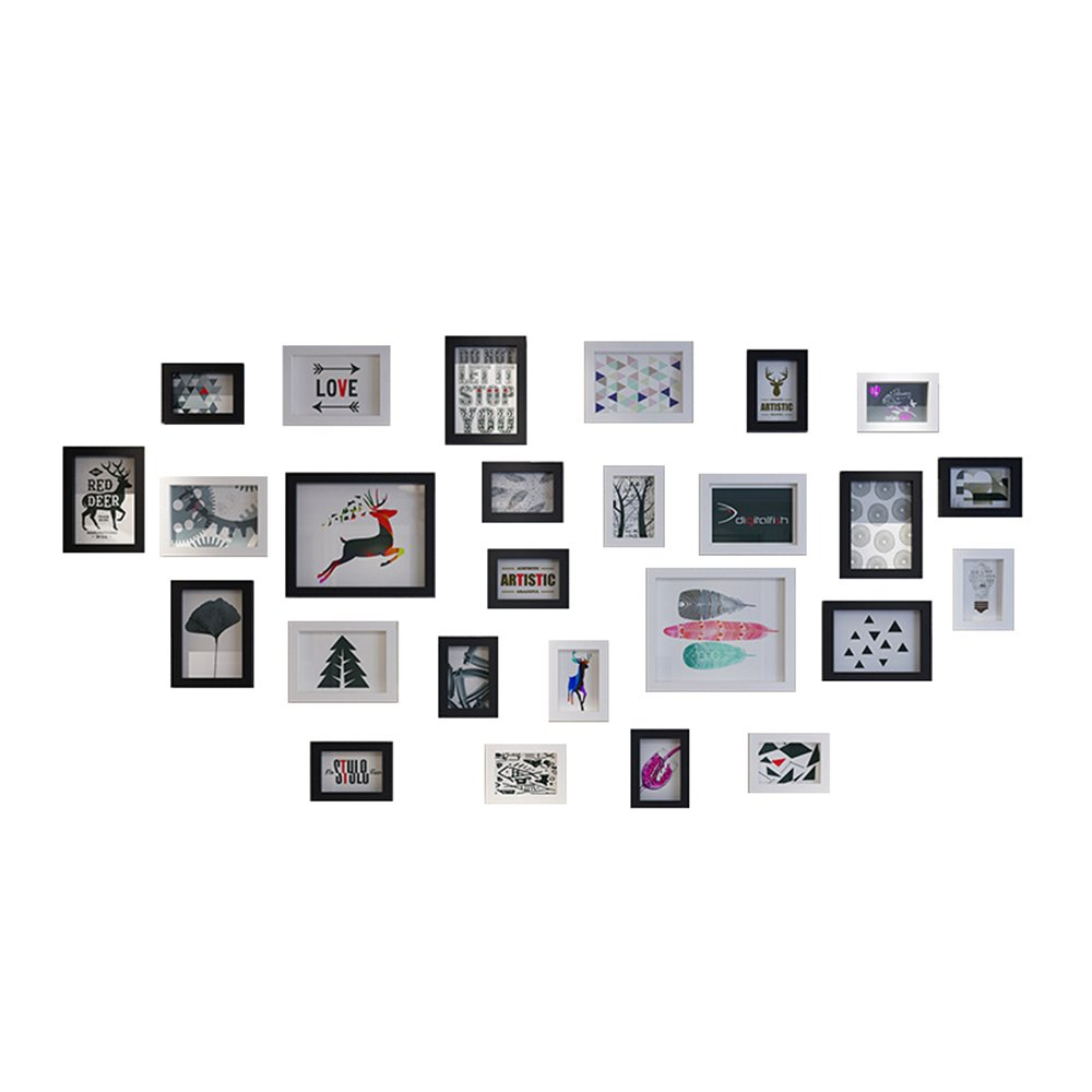 Simple and modern living room photo wall / picture frame wall European photo frame wall combination / photo wall 26 box wall 182 90cm ( Color : A ) by Photo Wall