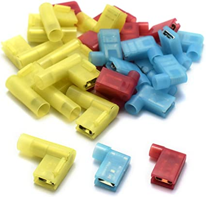50pcs 16-14 AWG Nylon Insulated Flag Female Electrical Connectors FLDNY2-250